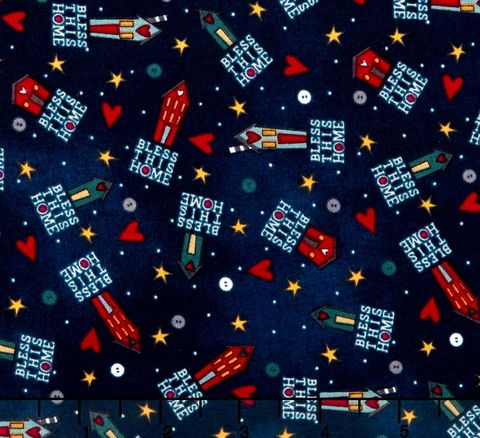 Cotton,Quilt,Fabric,Bless,This,Home,Tiny,Houses,Toss,Navy,Blue,,quilt backing, dresses, quilt fabric,cotton material,auntie chris quilt,sewing,crafts,quilting,online fabric,sale fabric