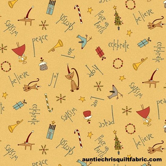 Cotton Quilt Fabric Peace on Earth Christmas Wishes Tan Multi - product images  of