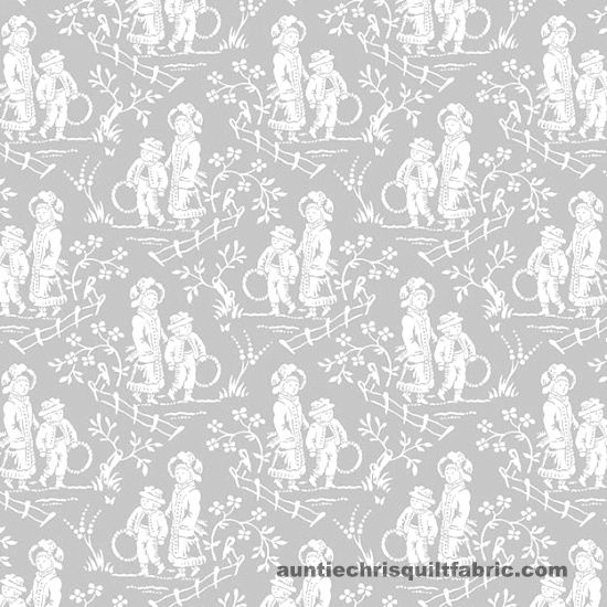 Cotton Quilt Fabric FRENCH LAUNDRY GREY TOILE 9714  - product images  of