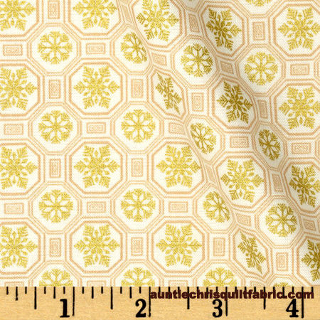 Cotton Quilt Fabric Christmas Ornamental Splendor Geo White Snowflakes - product images  of