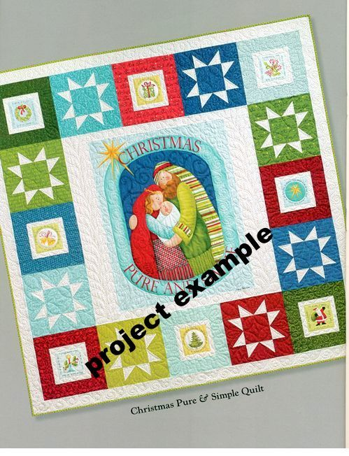 Cotton Quilt Fabric Panel Christmas Pure and Simple Nativity Christian - product images  of