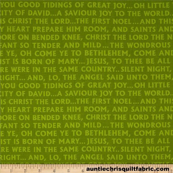 Cotton Quilt Fabric Christmas Pure N Simple Glad Tidings Green Christian - product images  of
