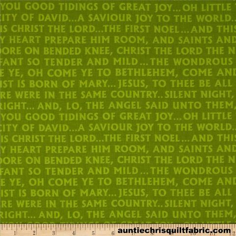 Cotton,Quilt,Fabric,Christmas,Pure,N,Simple,Glad,Tidings,Green,Christian,,quilt backing, dresses, quilt fabric,cotton material,auntie chris quilt,sewing,crafts,quilting,online fabric,sale fabric