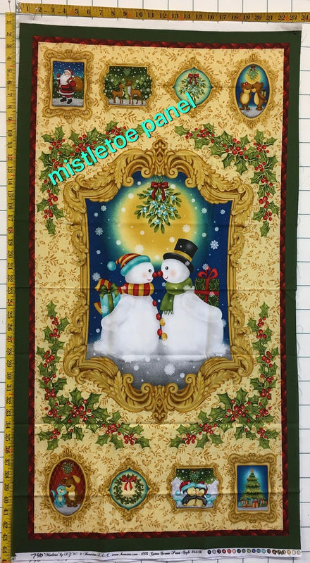 Cotton Quilt Fabric Panel Christmas Mistletoe Snowman Santa Claus - product images  of