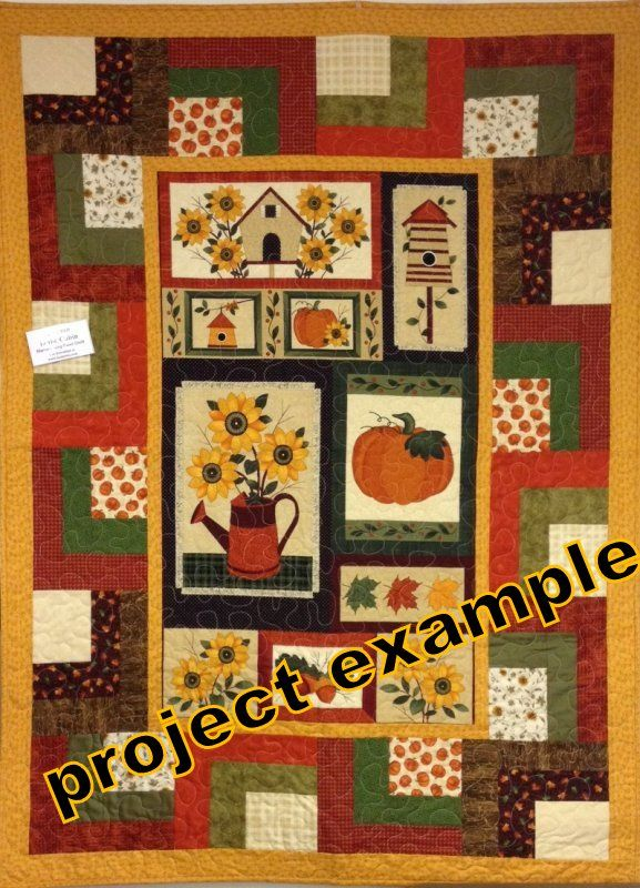 Cotton Quilt Fabric Panel Harvest Song Fall Autumn Pumpkin Sunflowers - product images  of