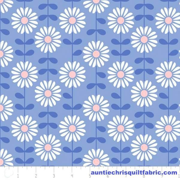 Cotton Quilt Fabric DAISY DELIGHT ROSE QUARTZ & SERENITY Blue Floral - product images  of
