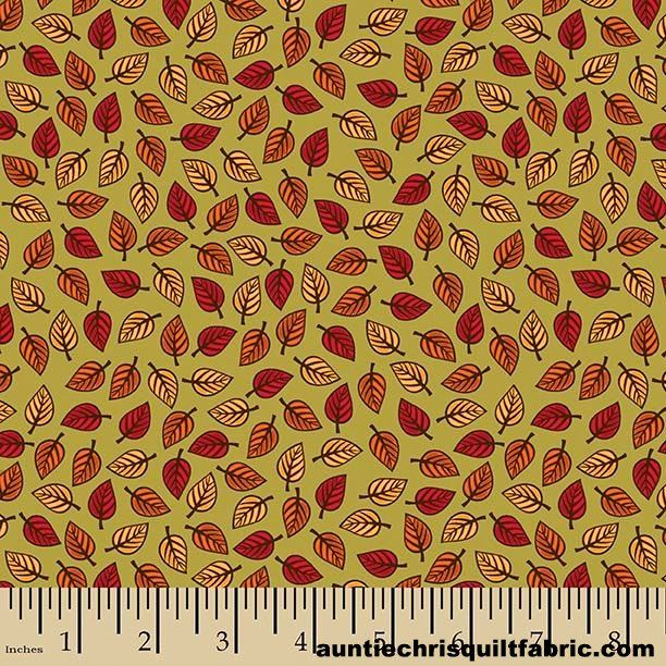 Cotton Quilt Fabric Autumn Palette Small Leaves Fall Green Multi - product images  of