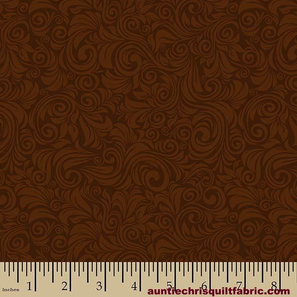 Cotton Quilt Fabric Autumn Palette Flourish Brown Tone On Tone - product images  of