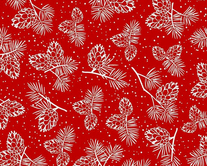 Cotton Quilt Fabric Christmas Winter Wonderland  Pine Cones RED White - product images  of