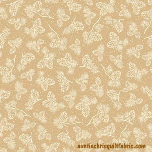 Cotton Quilt Fabric Christmas Winter Wonderland  Pine Cones Tan - product image