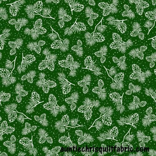 Cotton Quilt Fabric Christmas Winter Wonderland  Pine Cones Forrest Green - product image