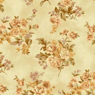 Cotton Quilt Fabric Classic Beauty Gentle Flowers Quilt Gate Tan Multi - product image