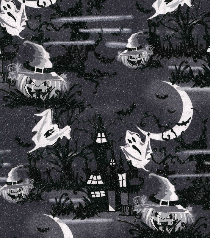 Cotton Quilt Fabric Halloween Haunted House Glitter Black White  - product image