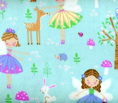 Cotton Flannel Quilt Fabric Snuggle Woodland Fairies Blue - product images  of