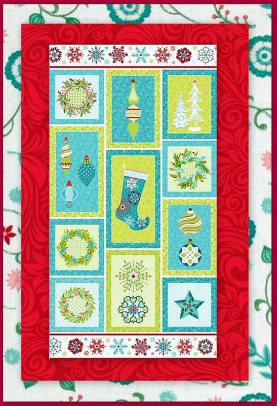 Easy Sparkle Ornamnts Christmas Panel Quilt Kit Beginners - product images  of