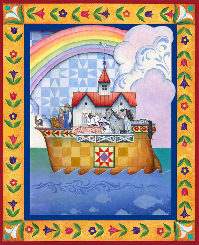 Cotton Quilt Fabric Christmas Jim Shore Noah's Ark Panel - product images  of