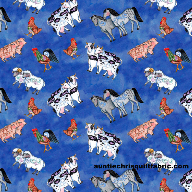 Cotton Quilt Fabric Christmas Jim Shore Noah's Ark Animal Toss Blue - product images  of