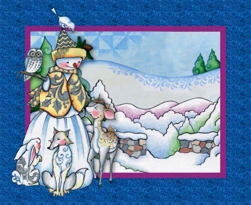Cotton Quilt Fabric Christmas Jim Shore Woodland Snowman Panel - product images  of