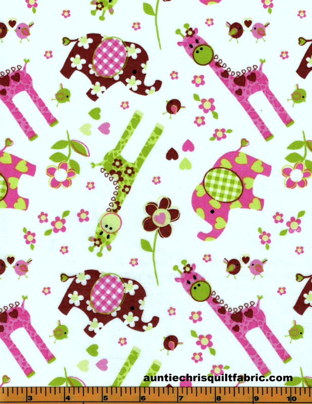 Cotton Quilt Fabric Best Friends Small Elephant Giraffe Toss White Pink - product image