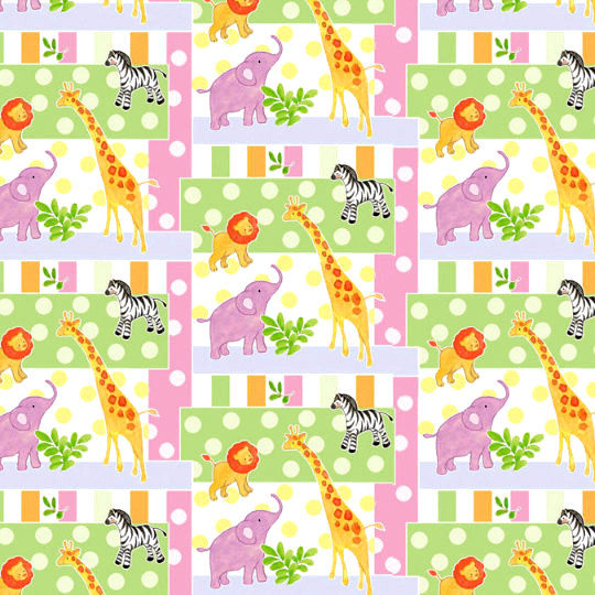 Cotton Quilt Fabric Nursery Safari Baby Patch Elephant Zebra Giraffe Lion - product images  of