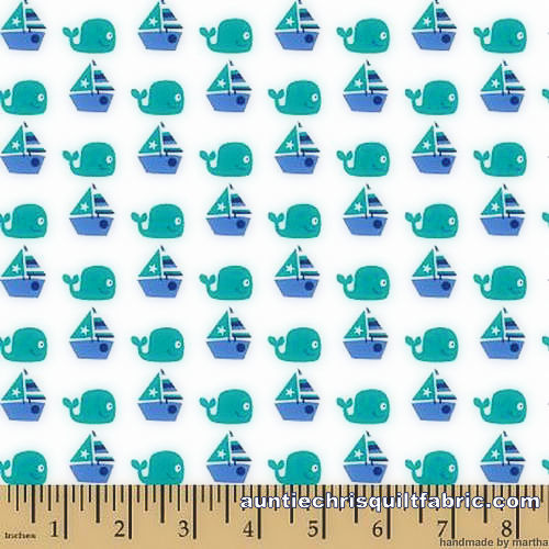 Cotton Quilt Fabric Nursery Seawater Friends Sailing Whales Sailboats - product images  of