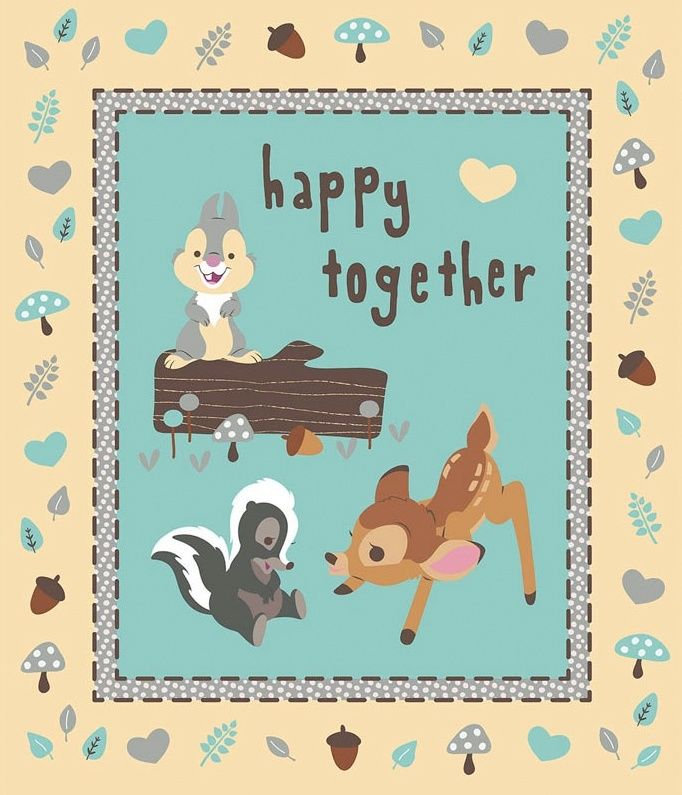 Cotton Quilt Fabric Happy Together Bambi Panel Thumper Flower - product images  of