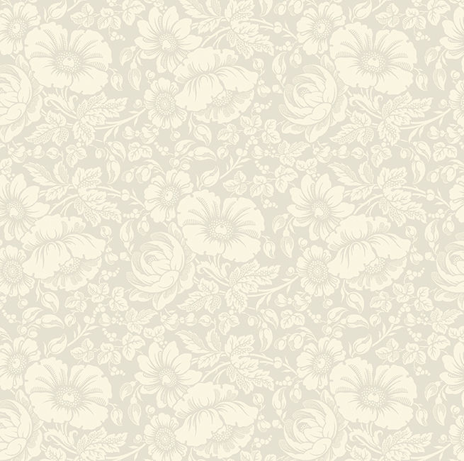 Cotton Quilt Fabric Gilded Flowers Ivory on Ivory Large Floral - product image