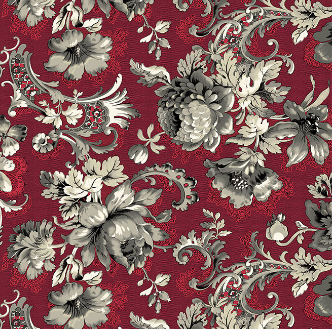 Good Buy Cotton Quilt Fabric Juliette Lady Montague Dk Red Large Floral - product image