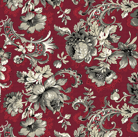 Good,Buy,Cotton,Quilt,Fabric,Juliette,Lady,Montague,Dk,Red,Large,Floral,,quilt backing, dresses, quilt fabric,cotton material,auntie chris quilt,sewing,crafts,quilting,online fabric,sale fabric