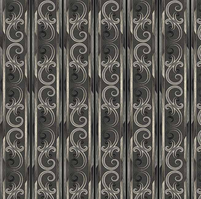 Cotton Quilt Fabric Juliette Gothic Scroll Stripe Dk Stone Black  - product image