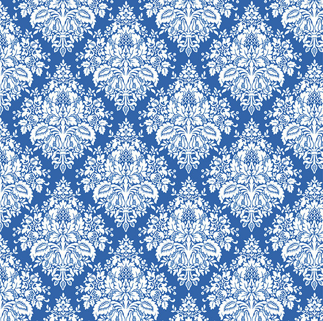 Cotton Quilt Fabric Winter Rhapsody Patience Blue White Damask - product image
