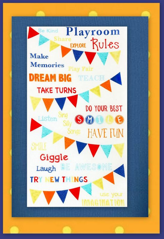 Easy Kids Playroom Rules Panel Quilt Kit Beginners Wall/Nap Quilt - product images  of