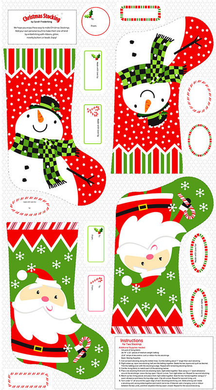 "Cotton Quilt Fabric STUDIO E A CHRISTMAS WISH 24"" STOCKING Panel  - product images  of"