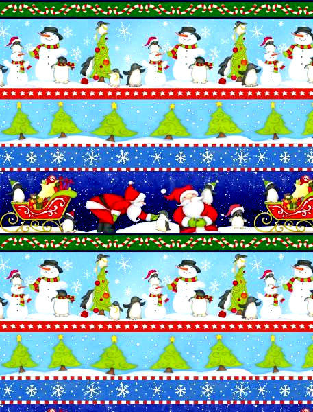 Cotton Flannel Quilt Fabric North Pole Greetings Blue Christmas Stripe  - product images  of