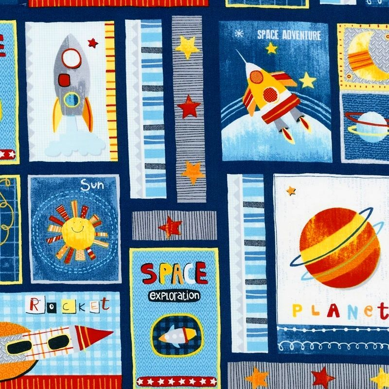 Cotton Quilt Fabric Space Adventure Patchwork Astronaut Planets Navy  - product images  of