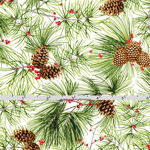 Cotton,Quilt,Fabric,Silver,Metallic,Pine,Cones,Cozy,Cabin,26602,,quilt backing, dresses, quilt fabric,cotton material,auntie chris quilt,sewing,crafts,quilting,online fabric,sale fabric