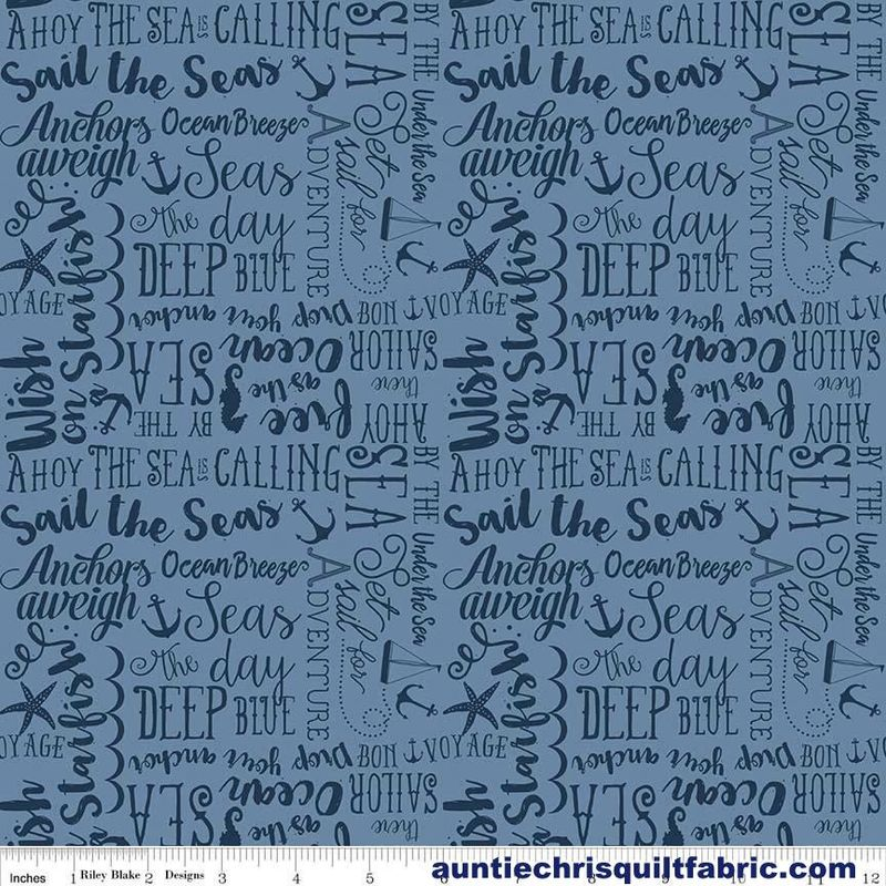 Cotton Quilt Fabric Riley Blake By The Sea 3 Sea Story Blue Nautical - product images  of
