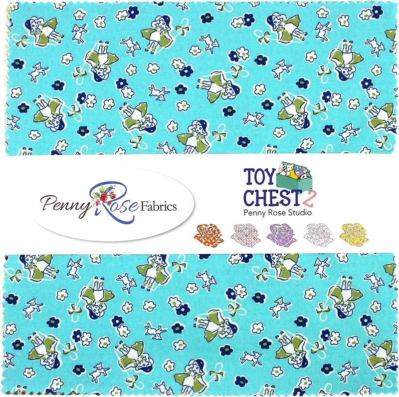 Cotton Quilt Fabric Riley Blake Toy Chest 2 Aqua Thirties Bo Peep Nursery  - product images  of