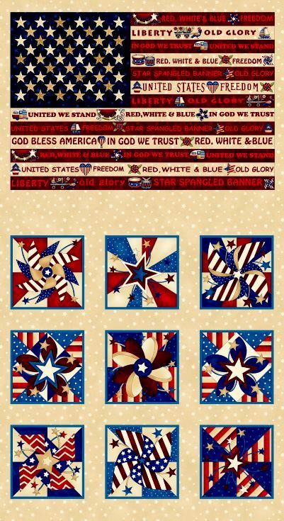 "Cotton Quilt Fabric Panel Libertyville Patriotic 24"" American Flag Patriotic - product images  of"
