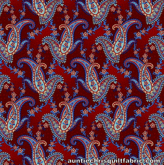 Cotton Quilt Fabric Libertyville Paisley Red Americana Patriotic - product images  of