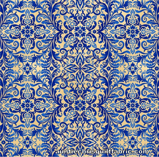 Cotton Quilt Fabric Libertyville Damask Blue Americana Patriotic - product images  of