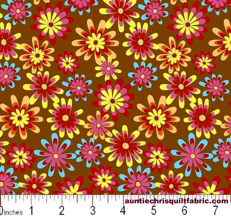 Cotton Quilt Fabric Flower Power Ditsy Daisy Lt Brown Multi - product images  of