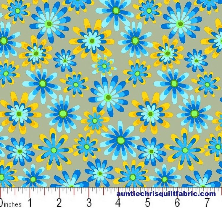 Cotton Quilt Fabric Flower Power Ditsy Daisy Gray Multi - product images  of