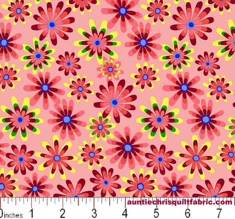 Cotton Quilt Fabric Flower Power Ditsy Daisy Dusty Mauve Pink Multi - product images  of