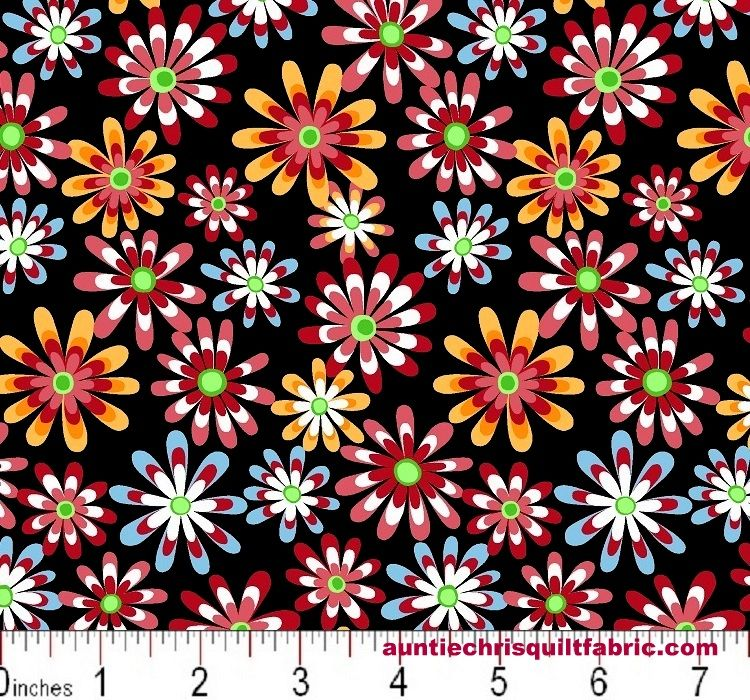 Cotton Quilt Fabric Flower Power Ditsy Daisy Black Multi - product images  of