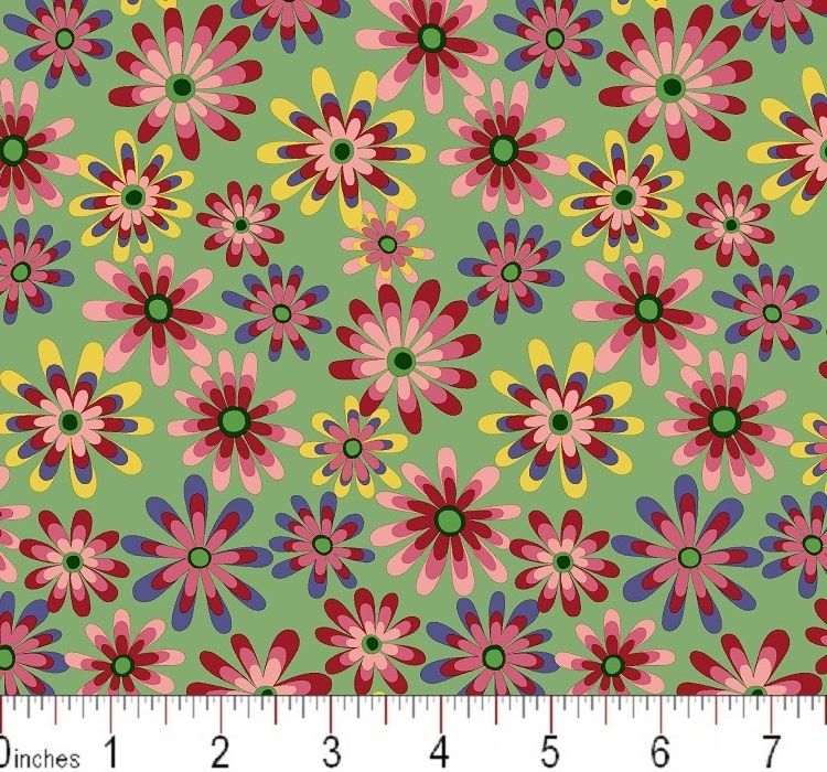 Cotton Quilt Fabric Flower Power Ditsy Daisy Seafoam Green Multi - product images  of