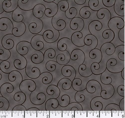 Cotton Quilt Fabric Tilt A Whirl Swirly Tone On Tone Black Gray - product images  of