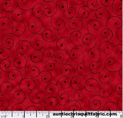 Cotton Quilt Fabric Tilt A Whirl Swirly Tone On Tone Ruby Red - product images  of