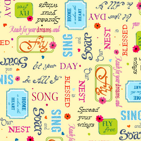 Cotton Quilt Fabric Blessed Inspirational Words Pale Yellow Multi  - product images  of