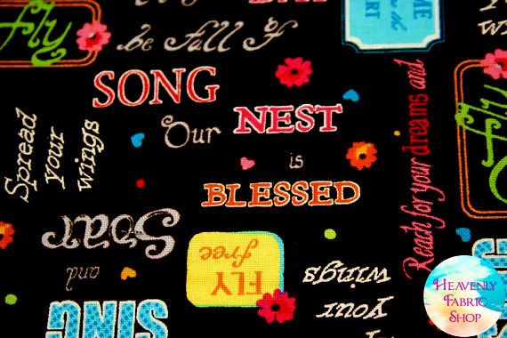 Cotton Quilt Fabric Blessed Inspirational Words Black Multi  - product images  of